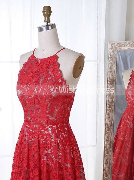 Red Prom Dress,Lace Prom Dress,Vintage Prom Dress,Floor Length Prom Dress,PD00226