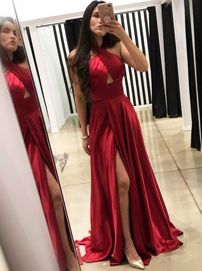Red Prom Dress With Slit Backless Prom Dress With Sweep