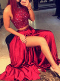 Red Two Piece Prom Dress,Satin Floor Length Evening Dress,Prom Dress with Slit PD00078