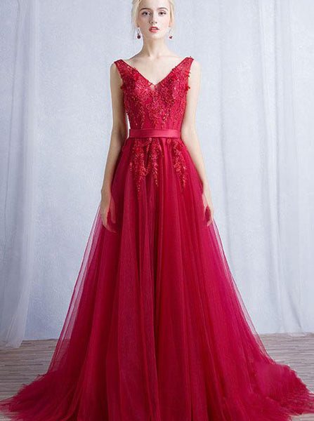 Red V neck Bridesmaid Dress,Prom Dress Tulle,Long Bridesmaid Dress,BD00194