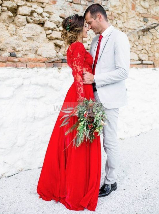 Red Wedding Dresses.Red Wedding Dresses Wedding Dress With Long Sleeves Destination Wedding Dress Wd00202