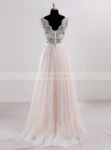 Romantic Wedding Dresses,Colored Wedding Dress,Cap Sleeves Bridal Dress,WD00245