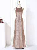 Rose Gold Sequined Bridesmaid Dresses,Sheath Bridesmaid Dress,BD00273