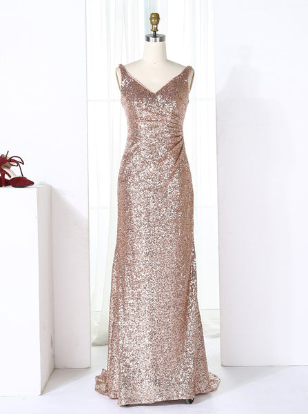 Rose Gold Sequined Bridesmaid Dresses with Train,Long Bridesmaid Dess,BD00274