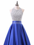 Royal Blue A-line Prom Dress,Satin Prom Dress with Pockets,Long Beaded Prom Dress PD00006