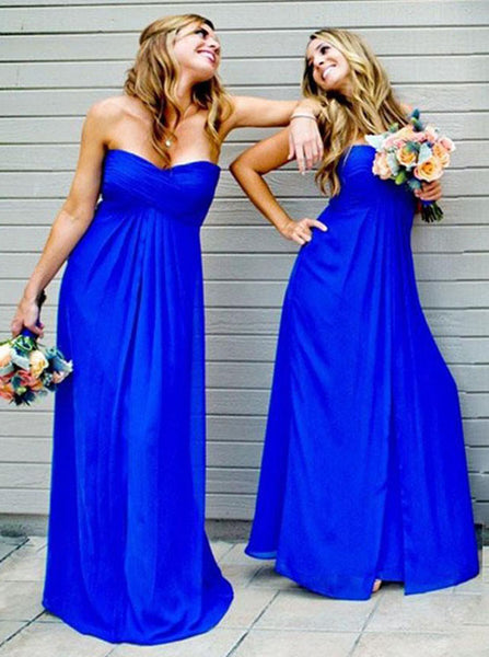 Royal Blue Bridesmaid Dress,Chiffon Bridesmaid Dress,Long Bridesmaid Dress,BD00178