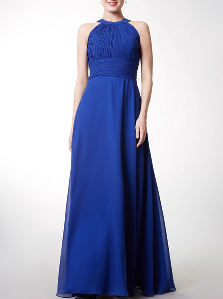 Royal Blue Bridesmaid Dress,Long Bridesmaid Dress,Chiffon Bridesmaid Dress,BD00185
