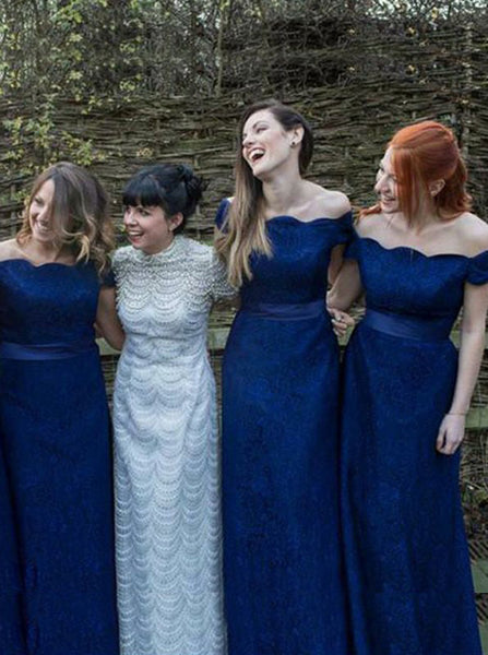 Royal Blue Bridesmaid Dress,Lace Long Bridesmaid Dress,Off the Shoulder Bridesmaid Dress,BD00075
