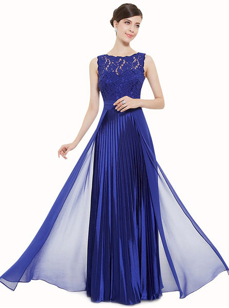 Royal Blue Bridesmaid Dress,Pleated Bridesmaid Dress,Chiffon Long Bridesmaid Dress,BD00137
