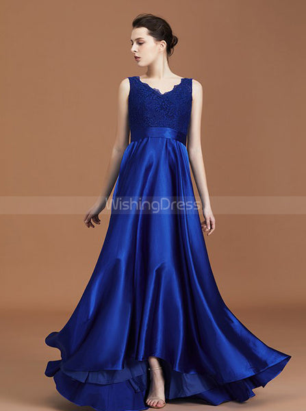 Royal Blue Bridesmaid Dresses,A-line Bridesmaid Dress,Satin Bridesmaid Dress,BD00237