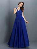 Royal Blue Bridesmaid Dresses,Backless Bridesmaid Dress,Long Chiffon Bridesmaid Dress,BD00244