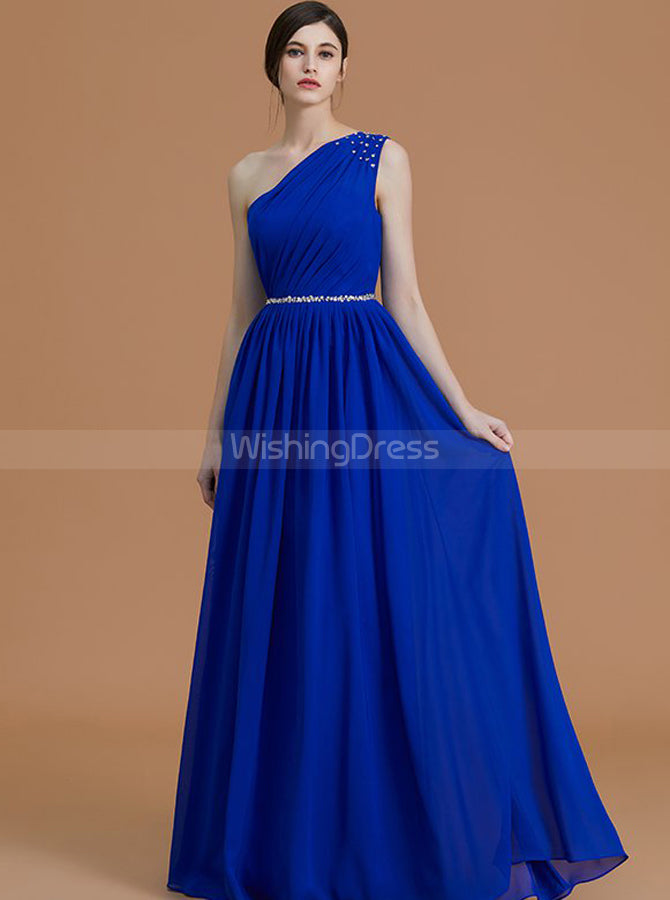 Royal Blue Bridesmaid Dresses,One Shoulder Bridesmaid