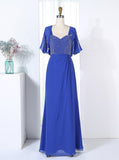 Royal Blue Bridesmaid Dresses with Jacket,Beaded Bridesmaid Dresses,BD00288