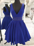 Royal Blue Cocktail Dresses,A-line Simple Party Dresses,V-neck Homecoming Dress,HC00168