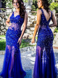 Royal Blue Column Prom Dress,Sexy Tulle Floor Length Evening Dress,Lace See Through Dress PD00132