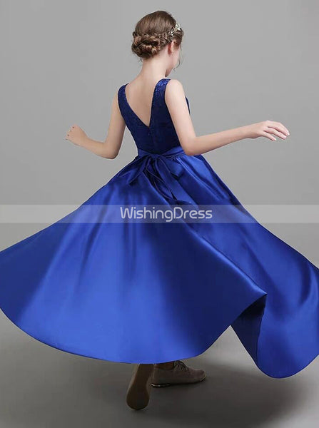 Royal Blue High Low Junior Bridesmaid Dress,Satin Girls Special Occasion Dress,JB00057
