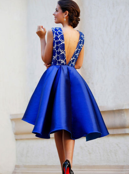 Royal Blue Homecoming Dresses,High Low Homecoming Dress,Short Prom Dress,HC00143
