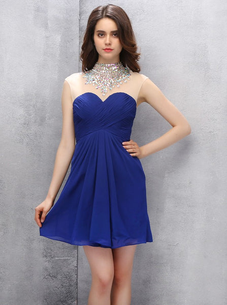 Royal Blue Homecoming Dresses,High Neck Homecoming Dress,Modest Homecoming Dress,HC00111
