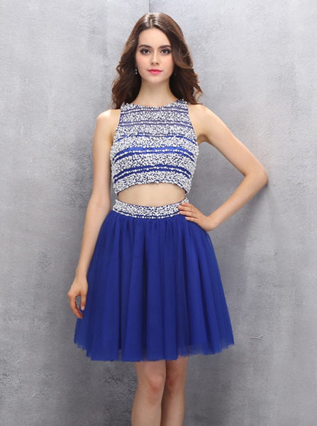 Royal Blue Homecoming Dresses,Two Piece Homecoming Dress,Sparkly Homecoming Dress,HC00120