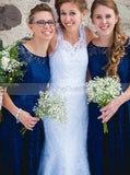 Royal Blue Lace Bridesmaid Dress,Bridesmaid Dress with Short Sleeves,Short Bridesmaid Dress,BD00124