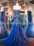Royal Blue Mermaid Prom Dress,Sweetheart Tulle Prom Dress,Formal Evening Dress with Train PD00017
