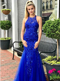 Royal Blue Mermaid Prom Dresses,Sequined Lace Evening Dress,PD00403