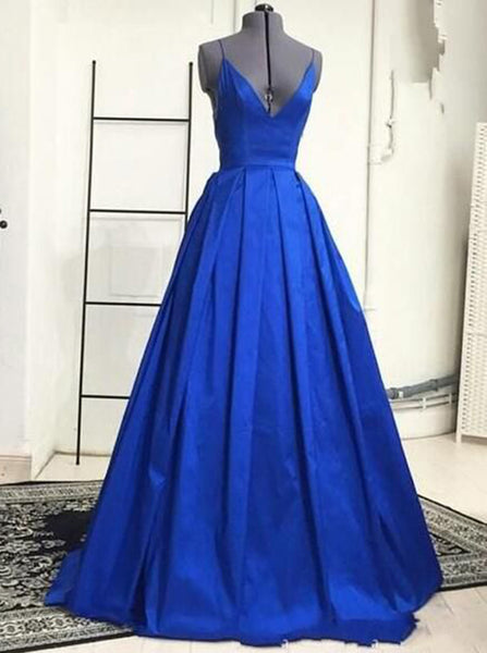 Royal Blue Modest Prom Dress,Spaghetti Straps A-line Prom Dress,Evening Dress Simple PD00061