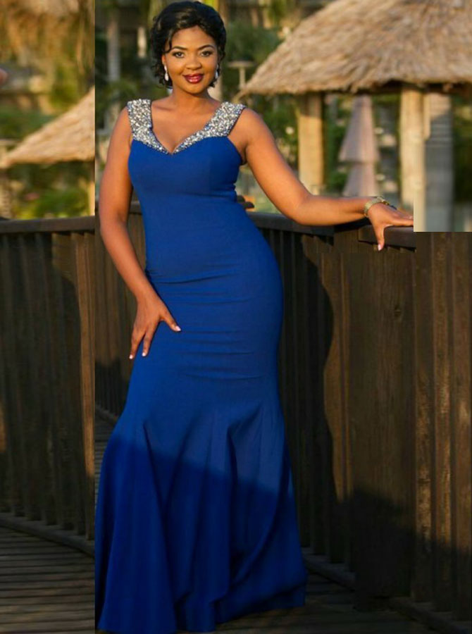 Royal Blue Plus Size Prom Dress Fit And Flare Plus Size