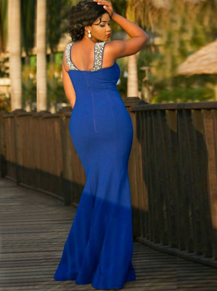 Royal Blue Plus Size Prom Dress,Fit and Flare Plus Size Prom Dress,Long Plus Size Dress,PD00327
