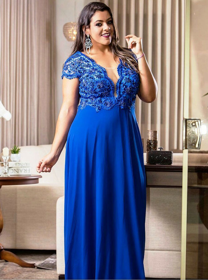 Royal Blue Plus Size Prom Dresses,Long Plus Size Prom Dress,Plus Size Prom  with Sleeves,PD00244