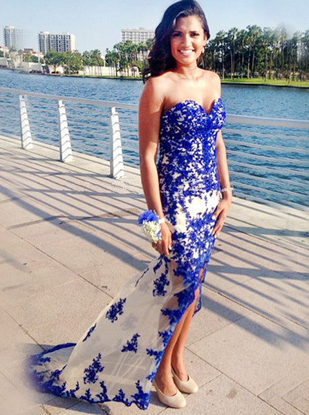 Royal Blue Prom Dresses,Fitted Prom Dress,Strapless Prom Dress,Lace Prom Dress,PD00216