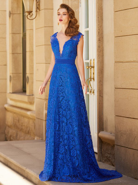 Royal Blue Prom Dresses,Lace Prom Dress,Formal Evening Dress,Backless Prom Dress,PD00287