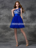 Royal Blue Sweet 16 Dresses,One Shoulder Homecoming Dress,Short Homecoming Dress,SW00043