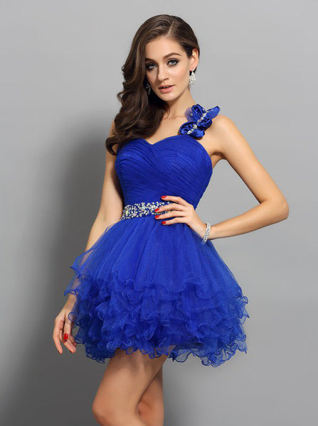 Royal Blue Sweet 16 Dresses,One Shoulder Sweet 16 Dress,Ruffled Sweet 16 Dress,SW00034