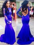 Royal Blue Tight Prom Dress,Lace Evening Dress with Sleeves,Open Back Prom Dress Vogue PD00031