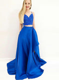 Royal Blue Two Piece Prom Dress,Satin Spaghetti Straps Prom Dress,Elegant Evening Dress PD00140