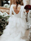 Ruffled Princess Wedding Gowns,Bridal Gown with Sleeves,WD00352