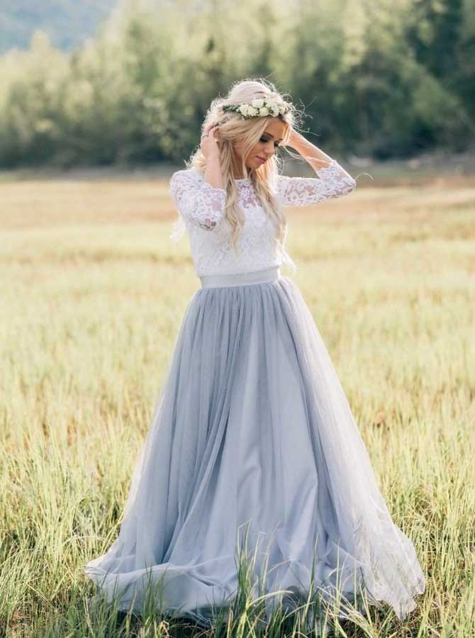 Rustic Wedding Dresses With Sleeves Dusty Blue Wedding