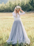 Rustic Wedding Dresses with Sleeves,Dusty Blue Wedding Dress Outdoor,WD00333