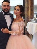 Blush Wedding Dresses,Off the Shoulder Wedding Dress,Wedding Dress with Sleeves,WD00133