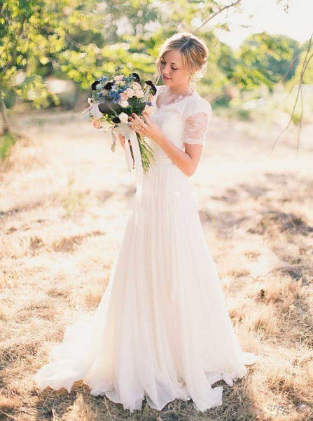 Chiffon Wedding Dresses with Short Sleeves,Garden Bridal Dress with Sweep Train,WD00323