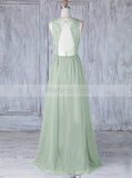 Sage Bridesmaid Dress,Tulle Long Bridesmaid Dress,Aline Backless Bridesmaid Dress,BD00053