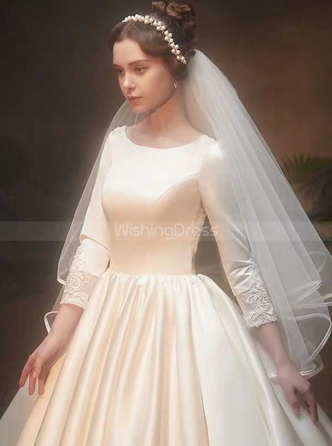 Satin Ball Gown Wedding Dress With Sleeves Classic Bridal Gown
