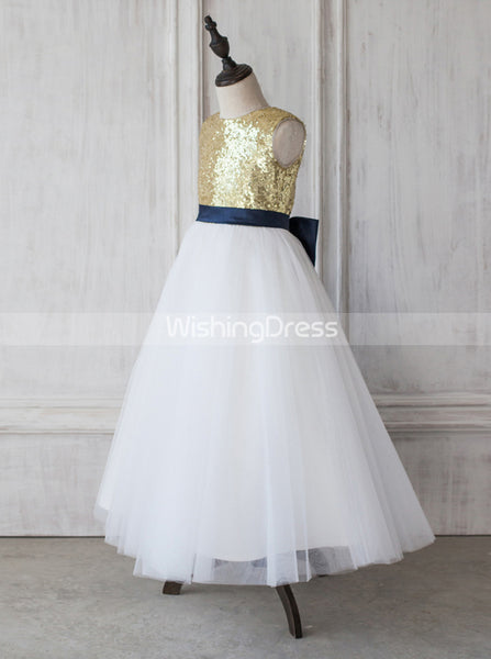 Sequined Junior Bridesmaid Dresses,A-line Flower Girl Dress,JB00019
