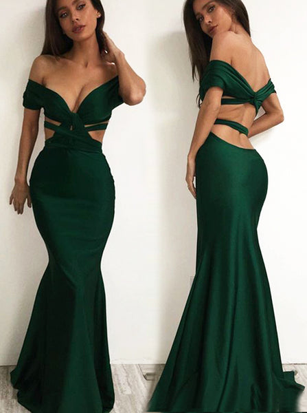 Sexy Dark Green Evening Dress,Off the Shoulder Mermaid Prom Dress,Tight Evening Party Dress PD00116