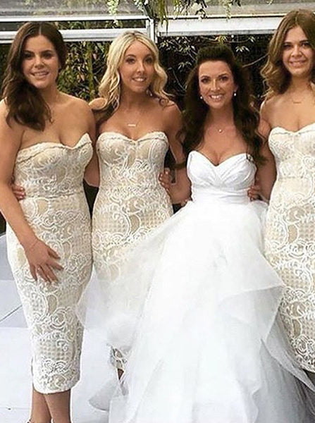 Sheath Bridesmaid Dress,Tea Length Bridesmaid Dress,Lace Strapless Bridesmaid Dress,BD00043