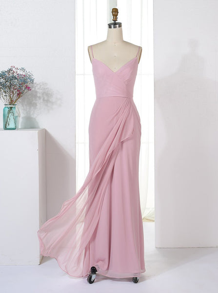 Sheath Bridesmaid Dresses,Bridesmaid Dress with Straps,Chiffon Bridesmaid Dress,BD00324