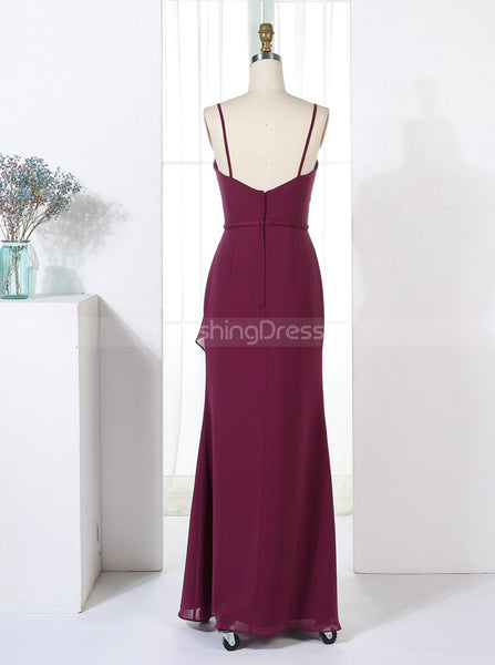 Sheath Bridesmaid Dresses,Burgundy Bridesmaid Dress,Long Bridesmaid Dress,BD00327