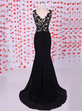 Sheath Evening Dress, Appliques Evening Dress with Slit, Black Evening Dress ED00001