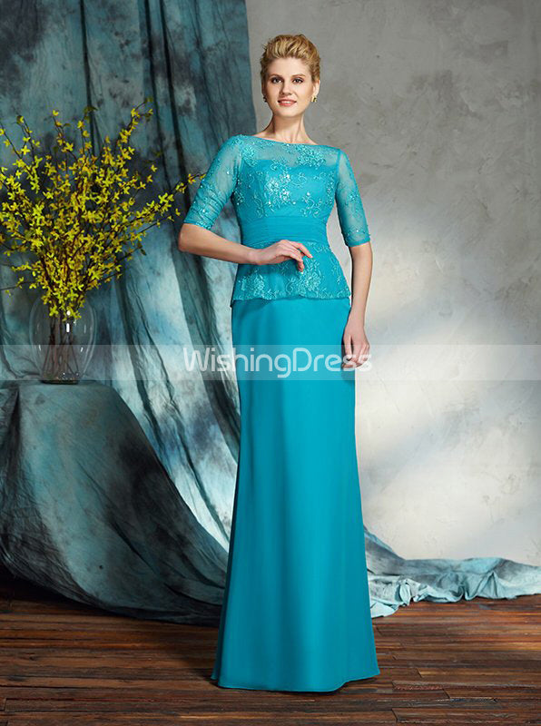 Sheath Mother Of The Bride Dresses Mother Dress With Sleeves Long Wedding Guest Dress Md00027